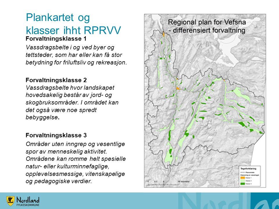 Arealpolitiske retningslinjer Generelle for hele planområdet Spesielle for utredningsområdet – vassdragsbeltet RPRVV - Forvaltningsklasse 1 RPRVV - Forvaltningsklasse 2 RPRVV - Forvaltningsklasse 3 Retningslinjer for utbygging av små vannkraftverk