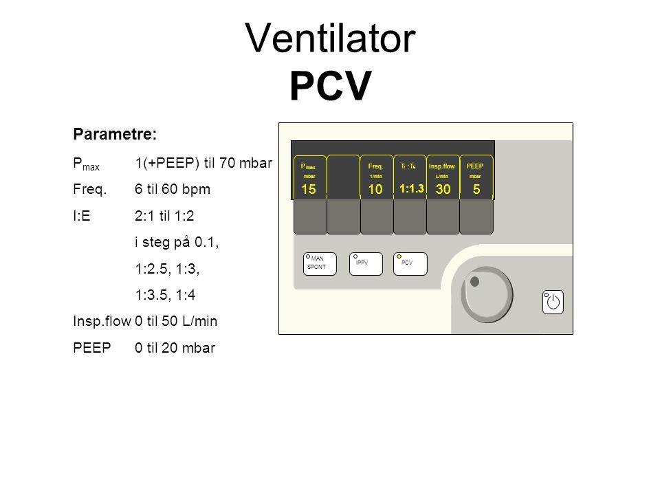 Parametre: P max 1(+PEEP) til 70 mbar Freq.