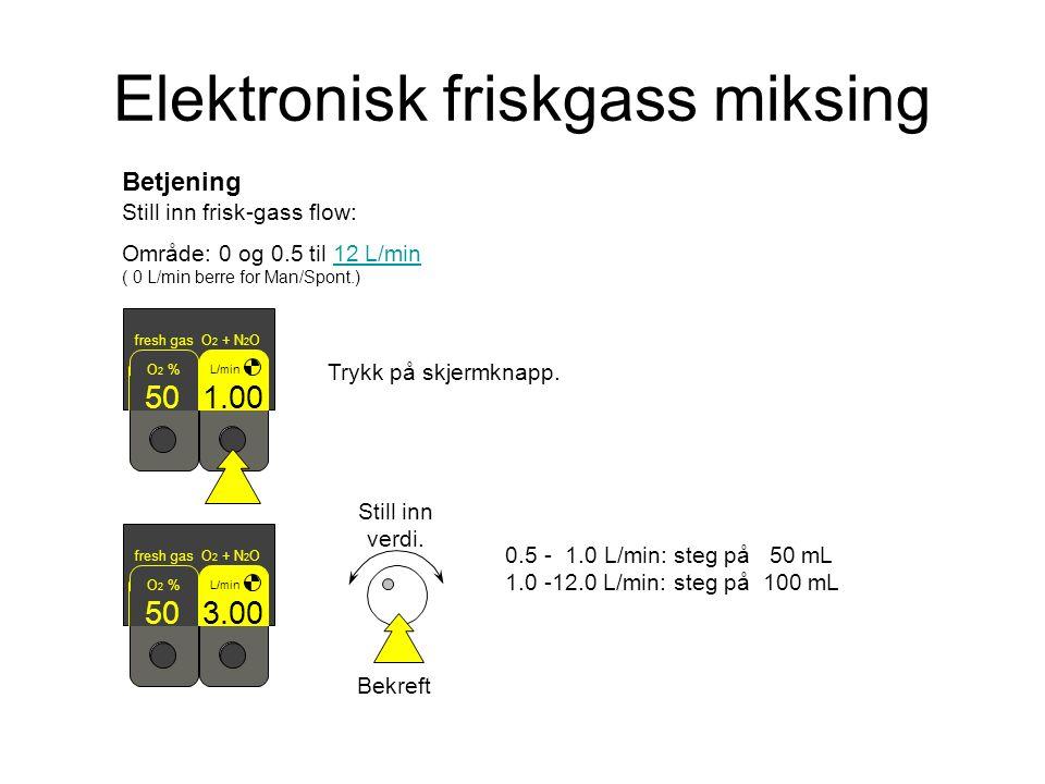 Betjening Still inn frisk-gass flow: Område: 0 og 0.5 til 12 L/min ( 0 L/min berre for Man/Spont.)12 L/min fresh gas O 2 + N 2 O L/min 3.00 O 2 % 50 Bekreft Still inn verdi.