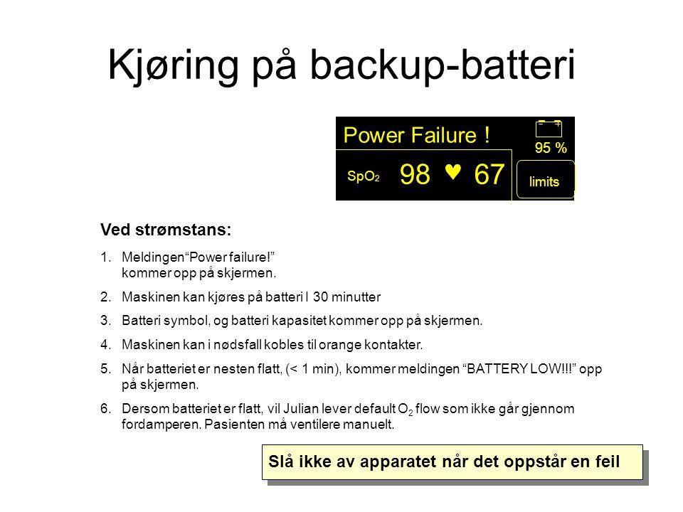 Ved strømstans: 1.Meldingen Power failure! kommer opp på skjermen.