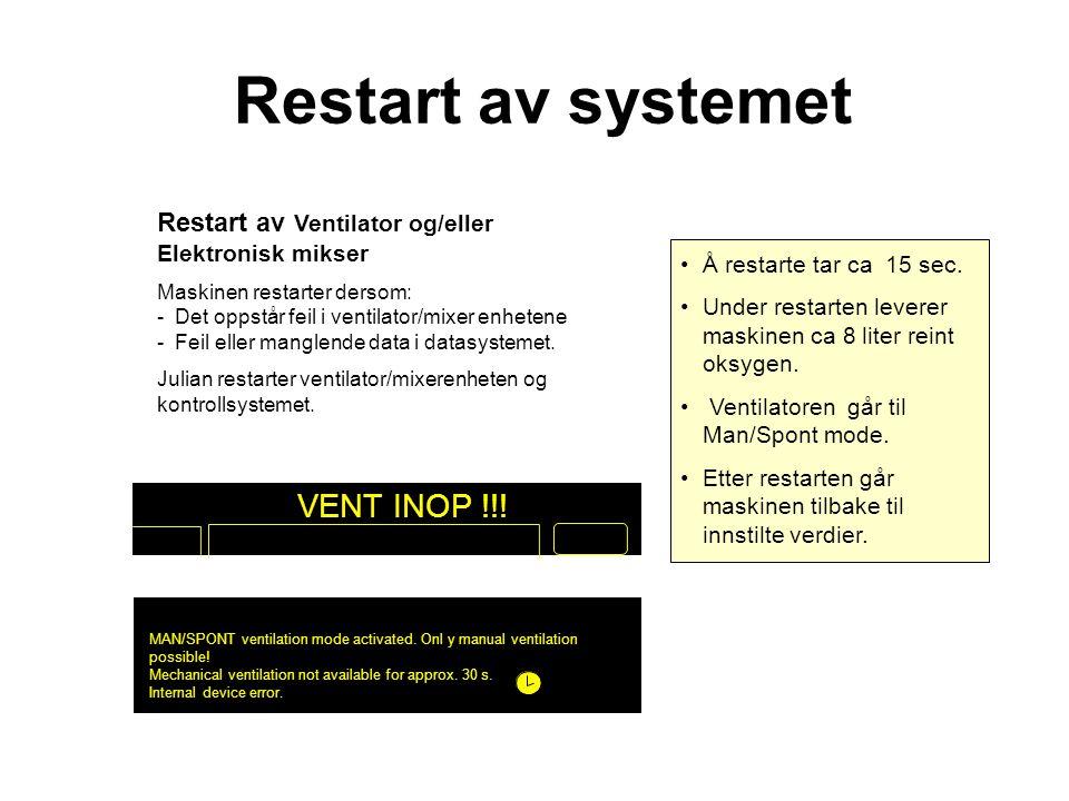 Restart av Ventilator og/eller Elektronisk mikser Maskinen restarter dersom: - Det oppstår feil i ventilator/mixer enhetene - Feil eller manglende data i datasystemet.