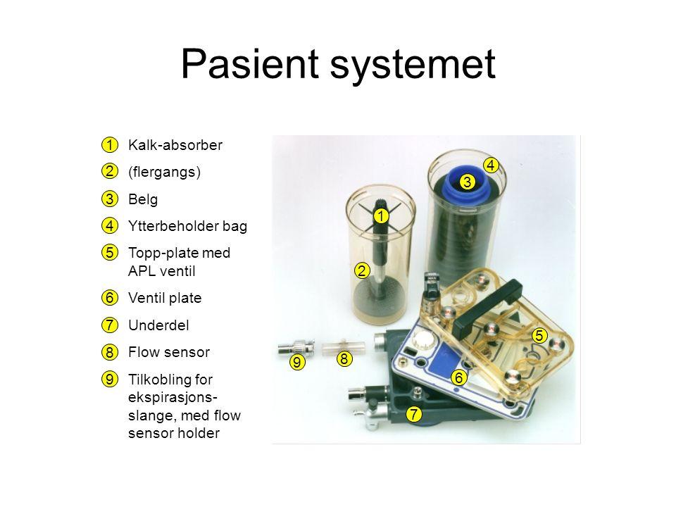 Kalk-absorber (flergangs) Belg Ytterbeholder bag Topp-plate med APL ventil Ventil plate Underdel Flow sensor Tilkobling for ekspirasjons- slange, med flow sensor holder 1 2 3 4 5 6 7 8 9 1 2 3 4 5 6 7 8 9 Pasient systemet