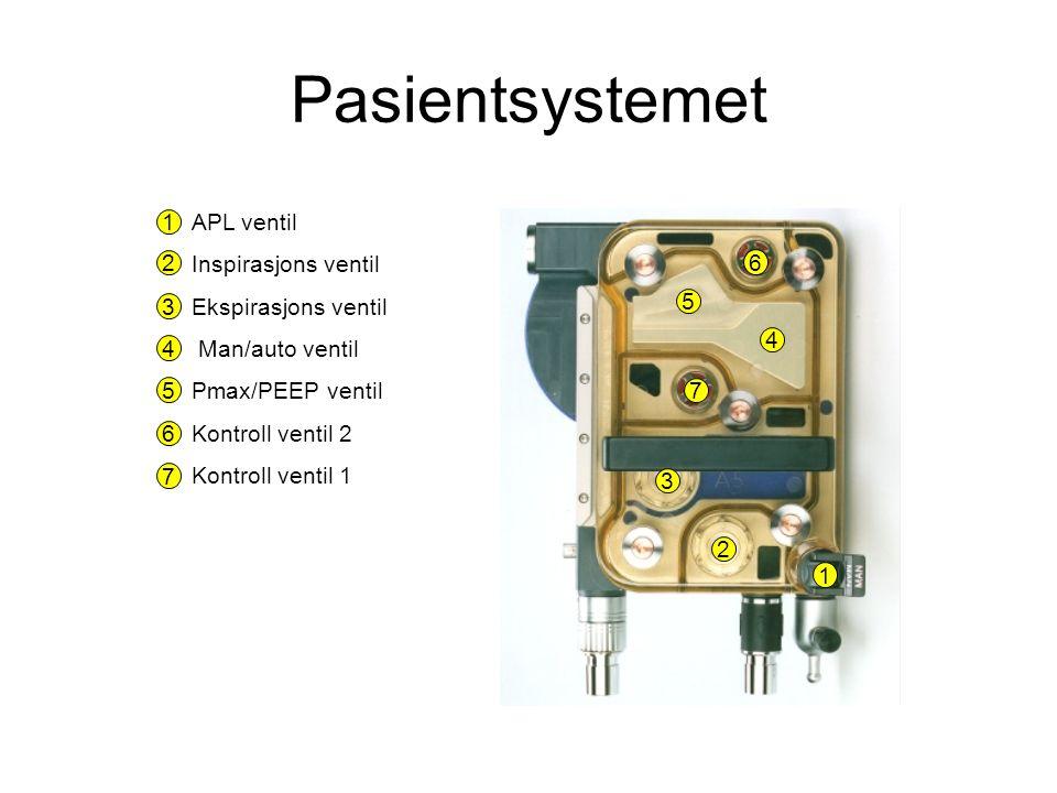 APL ventil Inspirasjons ventil Ekspirasjons ventil Man/auto ventil Pmax/PEEP ventil Kontroll ventil 2 Kontroll ventil 1 1 2 3 4 5 6 7 1 2 3 4 5 6 7 Pasientsystemet
