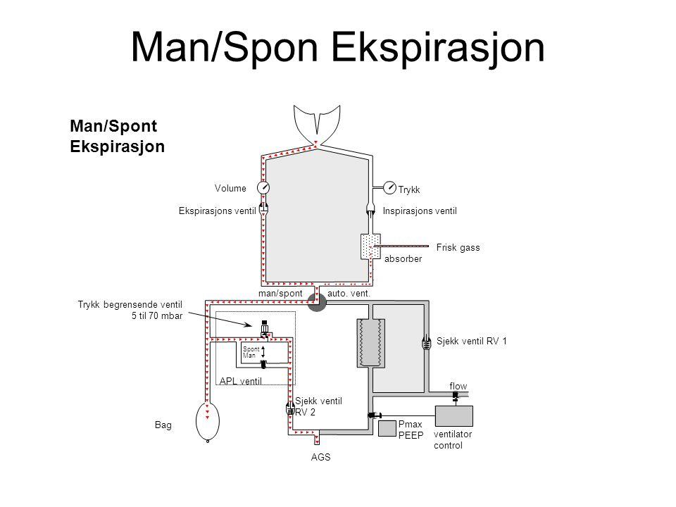 Man/Spont Ekspirasjon Spont Man flow Volume Inspirasjons ventil absorber man/spont Ekspirasjons ventil Bag Sjekk ventil RV 1 auto.
