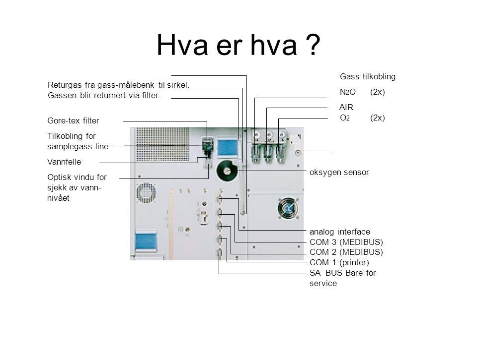 Gore-tex filter Tilkobling for samplegass-line Vannfelle Optisk vindu for sjekk av vann- nivået Gass tilkobling N 2 O(2x) AIR O 2 (2x) N 2 OAIRO 2 2,7 - 5,5 bar Returgas fra gass-målebenk til sirkel.