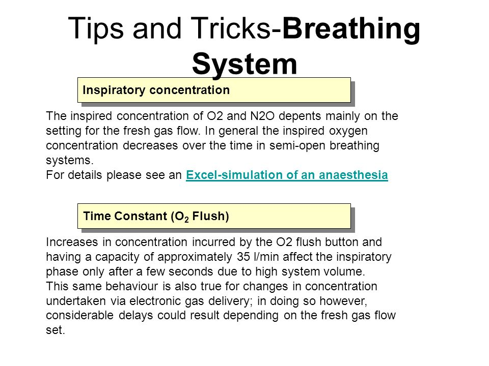 Increases in concentration incurred by the O2 flush button and having a capacity of approximately 35 l/min affect the inspiratory phase only after a f