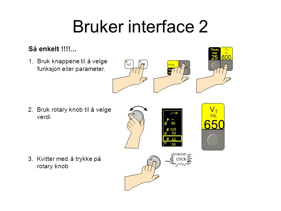 Så enkelt !!!!... 1. Bruk knappene til å velge funksjon eller parameter.