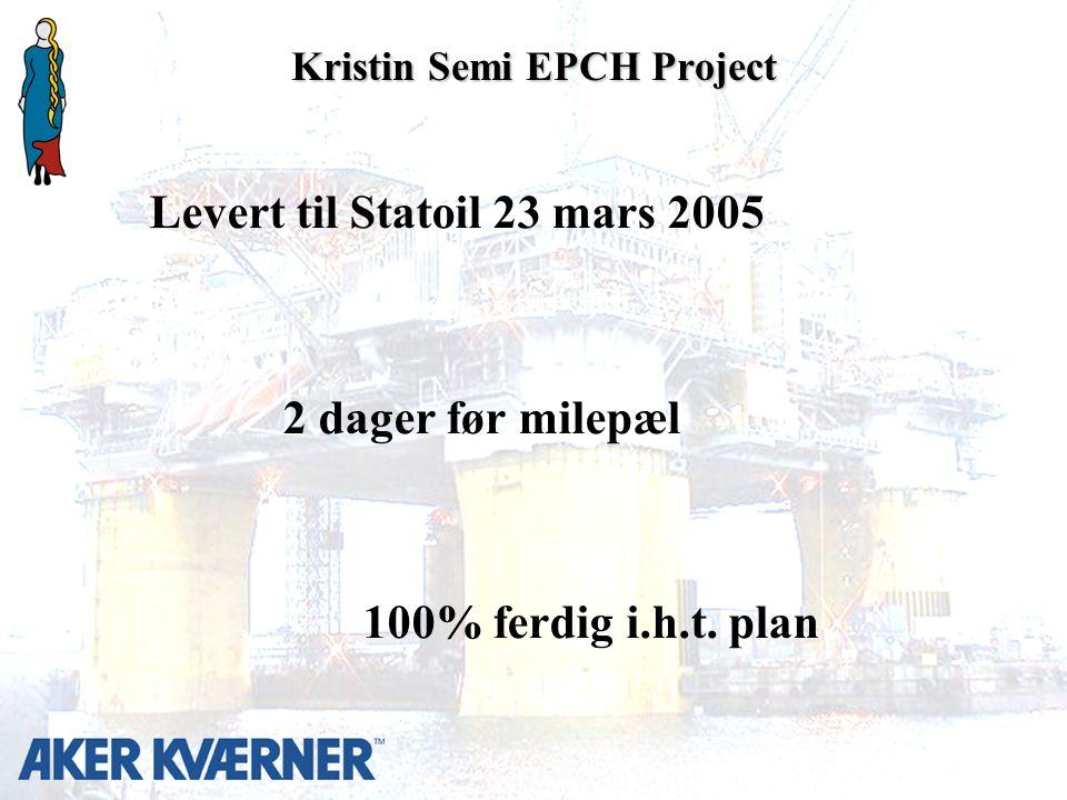 Kristin Semi EPCH Project Levert til Statoil 23 mars 2005 2 dager før milepæl 100% ferdig i.h.t.