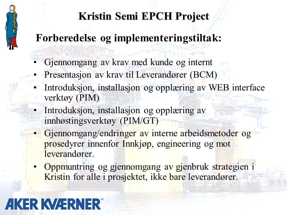Kristin Semi EPCH Project Gjennomgang av krav med kunde og internt Presentasjon av krav til Leverandører (BCM) Introduksjon, installasjon og opplæring av WEB interface verktøy (PIM) Introduksjon, installasjon og opplæring av innhøstingsverktøy (PIM/GT) Gjennomgang/endringer av interne arbeidsmetoder og prosedyrer innenfor Innkjøp, engineering og mot leverandører.