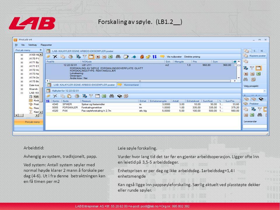 Forskaling av søyle. (LB1.2__) Leie søyle forskaling. Vurder hvor lang tid det tar før en gjentar arbeidsoperasjon. Ligger ofte inn en leietid på 3,5-