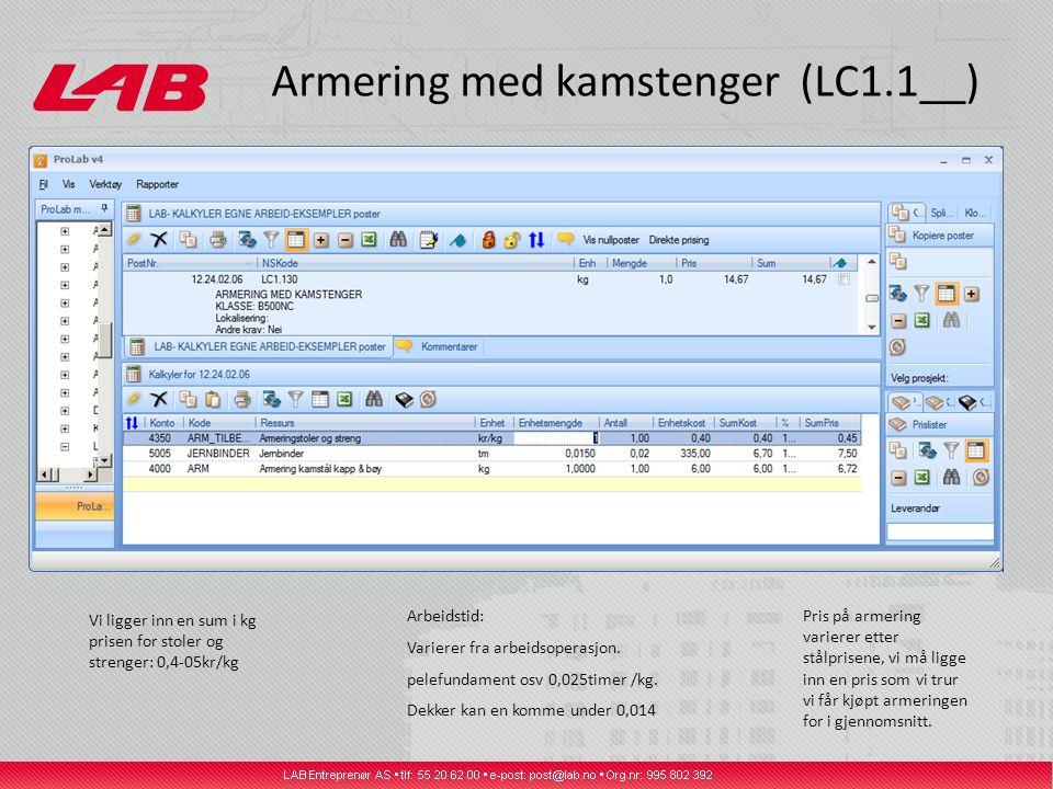 Armering med kamstenger (LC1.1__) Vi ligger inn en sum i kg prisen for stoler og strenger: 0,4-05kr/kg Arbeidstid: Varierer fra arbeidsoperasjon. pele
