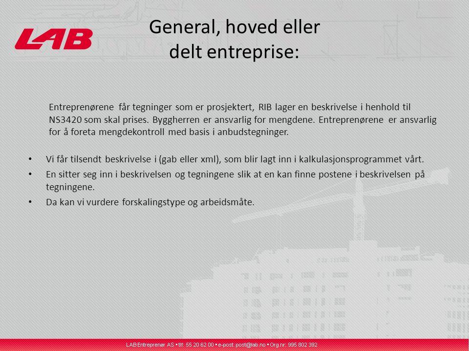 General, hoved eller delt entreprise: Entreprenørene får tegninger som er prosjektert, RIB lager en beskrivelse i henhold til NS3420 som skal prises.