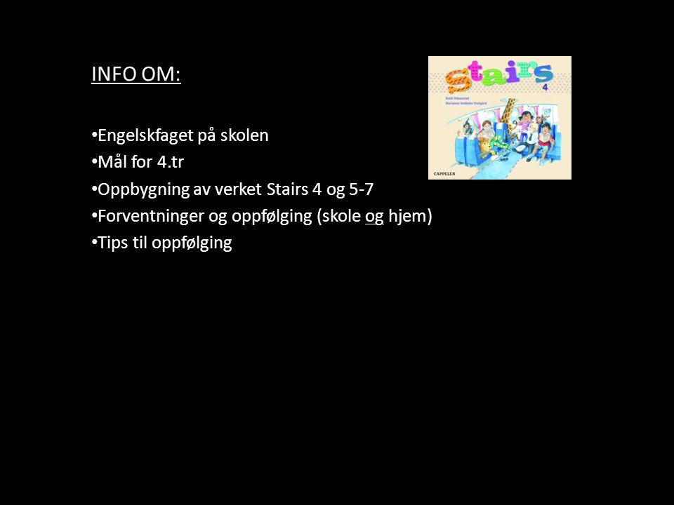 INFO OM: Engelskfaget på skolen Mål for 4.tr Oppbygning av verket Stairs 4 og 5-7 Forventninger og oppfølging (skole og hjem) Tips til oppfølging
