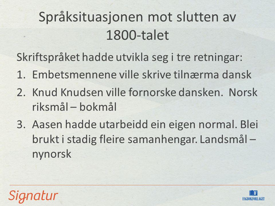 Språksituasjonen mot slutten av 1800-talet Skriftspråket hadde utvikla seg i tre retningar: 1.Embetsmennene ville skrive tilnærma dansk 2.Knud Knudsen ville fornorske dansken.