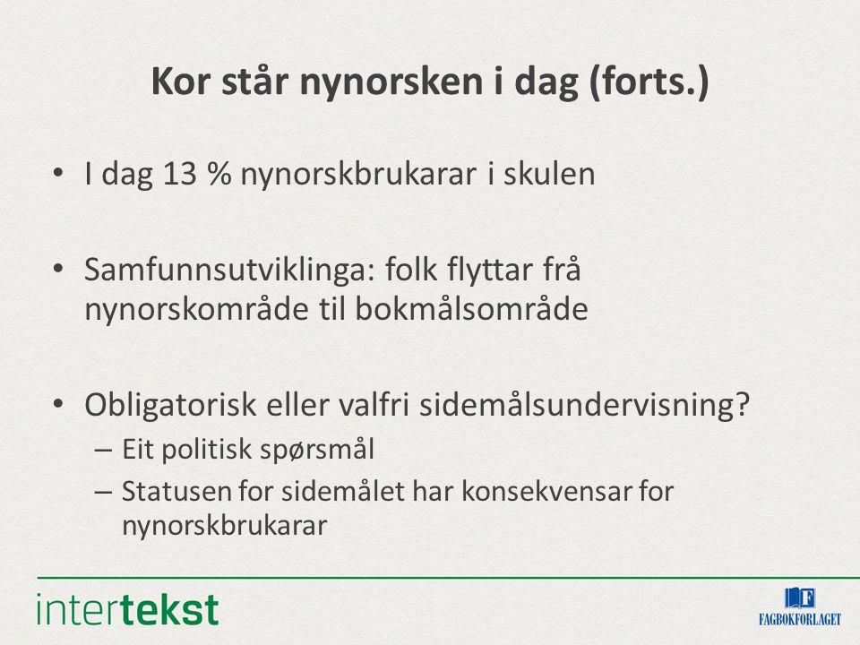 Kor står nynorsken i dag (forts.) I dag 13 % nynorskbrukarar i skulen Samfunnsutviklinga: folk flyttar frå nynorskområde til bokmålsområde Obligatoris