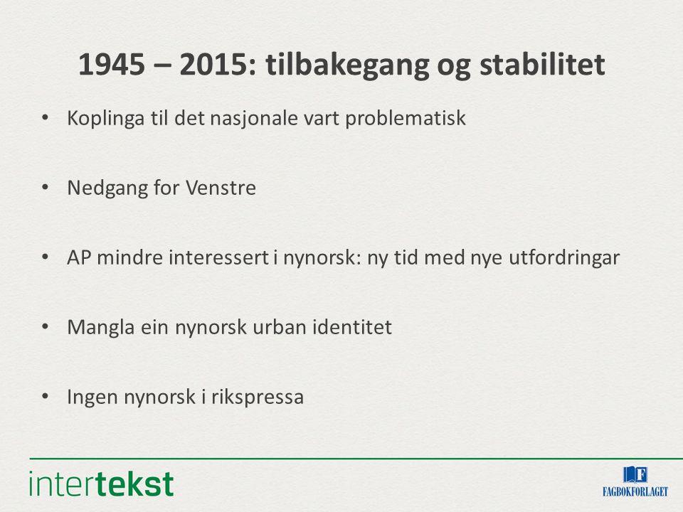 1945 – 2015: tilbakegang og stabilitet Koplinga til det nasjonale vart problematisk Nedgang for Venstre AP mindre interessert i nynorsk: ny tid med ny