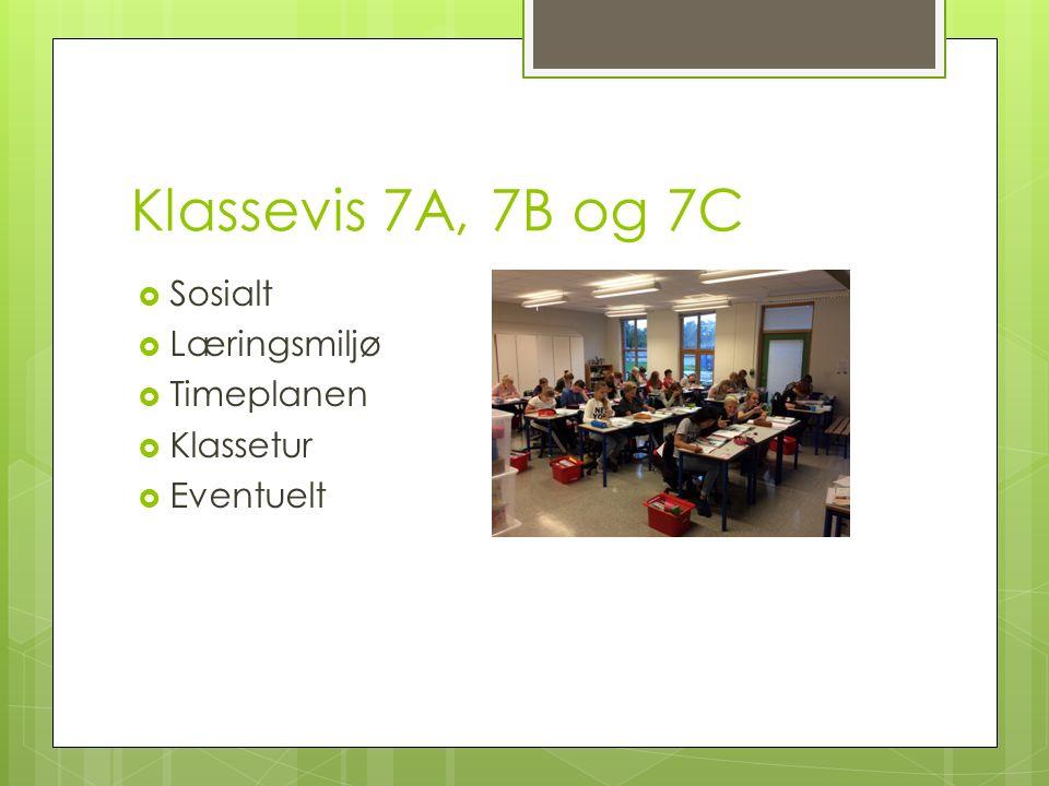 Klassevis 7A, 7B og 7C  Sosialt  Læringsmiljø  Timeplanen  Klassetur  Eventuelt