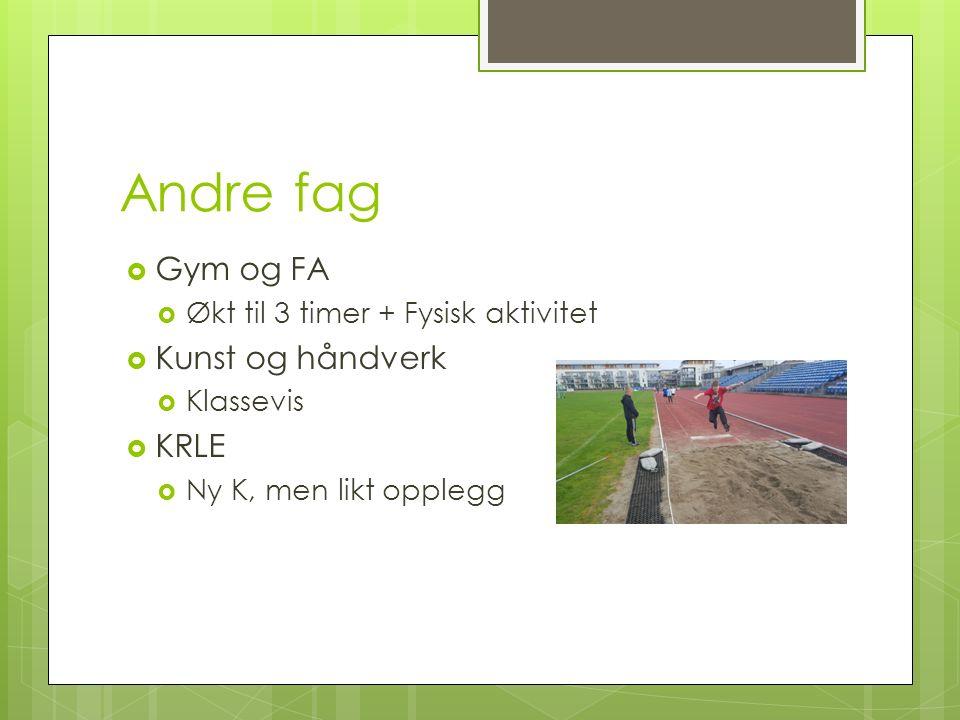Andre fag  Gym og FA  Økt til 3 timer + Fysisk aktivitet  Kunst og håndverk  Klassevis  KRLE  Ny K, men likt opplegg