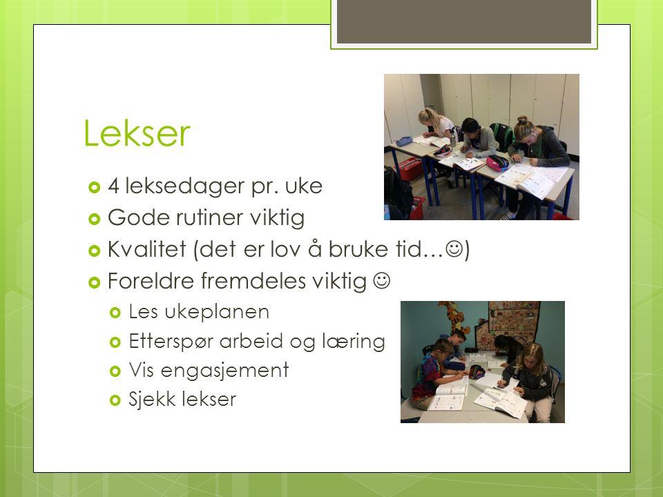 Lekser  4 leksedager pr.