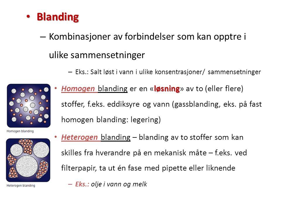 Blanding Blanding – Kombinasjoner av forbindelser som kan opptre i ulike sammensetninger – Eks.: Salt løst i vann i ulike konsentrasjoner/ sammensetni