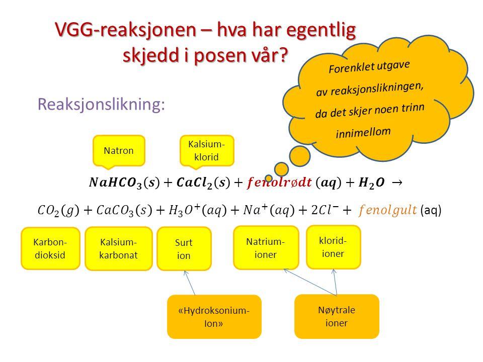 VGG-reaksjonen – hva har egentlig skjedd i posen vår? Natron Kalsium- klorid Karbon- dioksid Kalsium- karbonat Surt ion Natrium- ioner klorid- ioner «