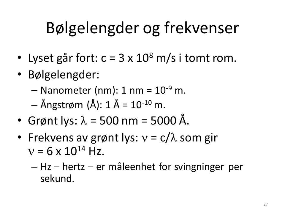 27 Bølgelengder og frekvenser Lyset går fort: c = 3 x 10 8 m/s i tomt rom.