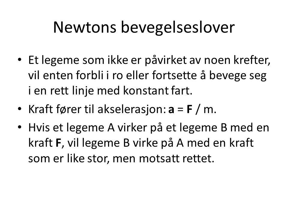 Newtons bevegelseslover Et legeme som ikke er påvirket av noen krefter, vil enten forbli i ro eller fortsette å bevege seg i en rett linje med konstant fart.