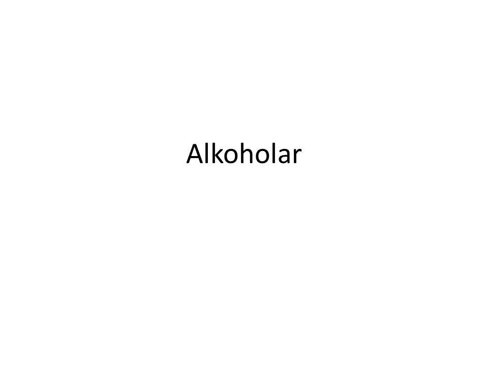 Kjemiske kjenneteikn Alkoholar har ei -OH-gruppe, elles er dei bygd opp som alkana Har også namn etter alkana med like mange C- atom samt –ol-ending Metanmetanol