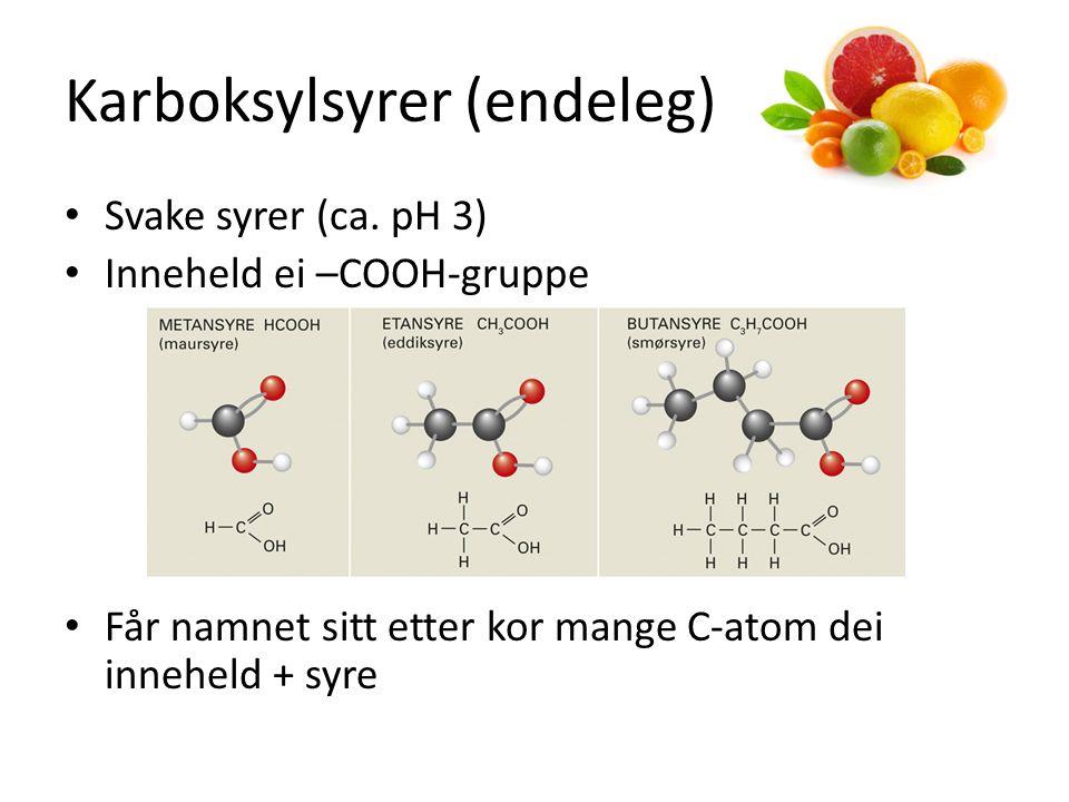 Karboksylsyrer (endeleg) Svake syrer (ca.