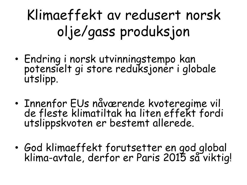 Klimaeffekt av redusert norsk olje/gass produksjon Endring i norsk utvinningstempo kan potensielt gi store reduksjoner i globale utslipp.