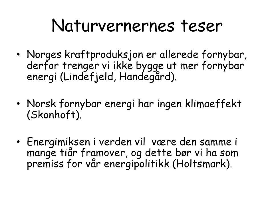 Naturvernernes teser Norges kraftproduksjon er allerede fornybar, derfor trenger vi ikke bygge ut mer fornybar energi (Lindefjeld, Handegård).
