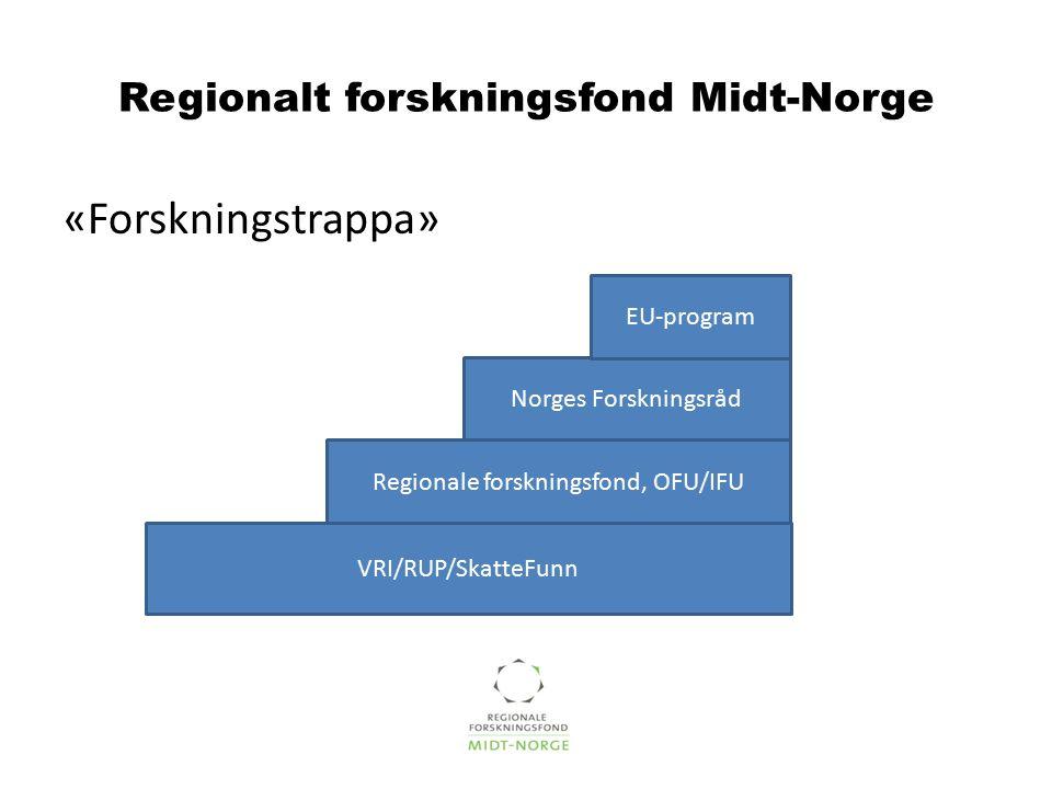 Regionalt forskningsfond Midt-Norge «Forskningstrappa» Regionale forskningsfond, OFU/IFU Norges Forskningsråd EU-program VRI/RUP/SkatteFunn