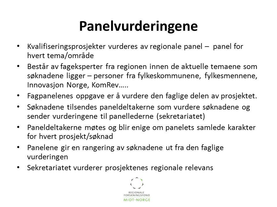 Panelvurderingene Kvalifiseringsprosjekter vurderes av regionale panel – panel for hvert tema/område Består av fageksperter fra regionen innen de aktu