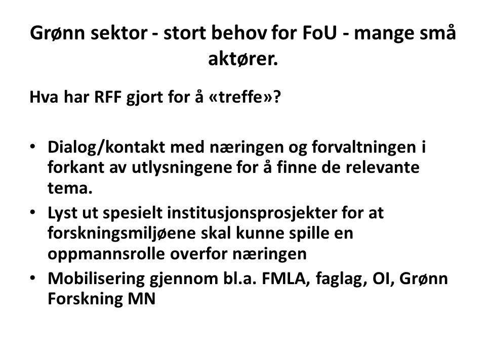 Grønn sektor - stort behov for FoU - mange små aktører. Hva har RFF gjort for å «treffe»? Dialog/kontakt med næringen og forvaltningen i forkant av ut