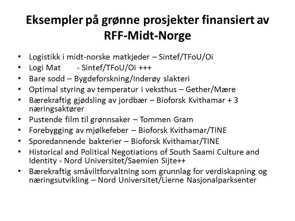 Eksempler på grønne prosjekter finansiert av RFF-Midt-Norge Logistikk i midt-norske matkjeder – Sintef/TFoU/Oi Logi Mat- Sintef/TFoU/Oi +++ Bare sodd – Bygdeforskning/Inderøy slakteri Optimal styring av temperatur i veksthus – Gether/Mære Bærekraftig gjødsling av jordbær – Bioforsk Kvithamar + 3 næringsaktører Pustende film til grønnsaker – Tommen Gram Forebygging av mjølkefeber – Bioforsk Kvithamar/TINE Sporedannende bakterier – Bioforsk Kvithamar/TINE Historical and Political Negotiations of South Saami Culture and Identity - Nord Universitet/Saemien Sijte++ Bærekraftig småviltforvaltning som grunnlag for verdiskapning og næringsutvikling – Nord Universitet/Lierne Nasjonalparksenter