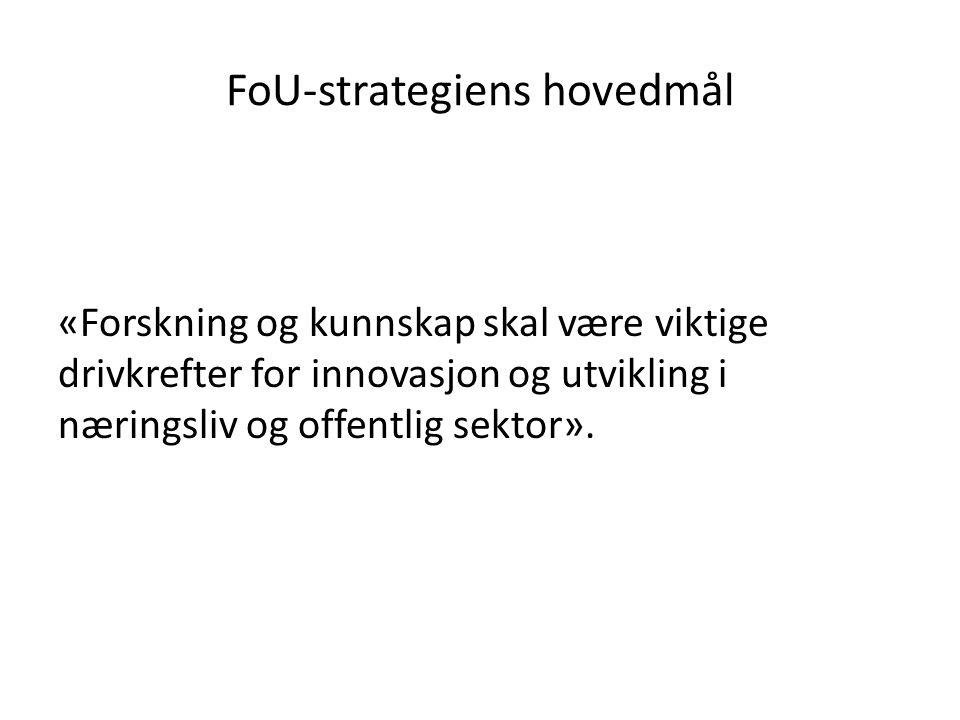 FoU-strategiens hovedmål «Forskning og kunnskap skal være viktige drivkrefter for innovasjon og utvikling i næringsliv og offentlig sektor».