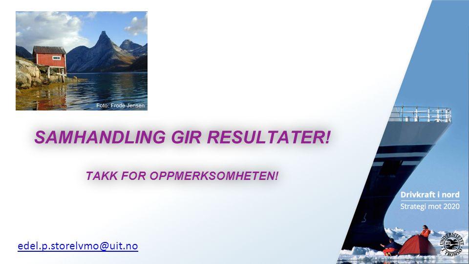 13 SAMHANDLING GIR RESULTATER. TAKK FOR OPPMERKSOMHETEN.