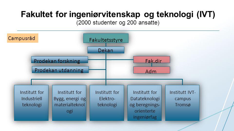 Nord-Norge: 1600 Km fra nord til sør, 112 000 Km^2 (1/3 størrelsen av Italia), ca 460 000 innbyggere IVT- Fakultetets oppdrag:  Utvikle og tilby relevante ingeniørfaglige og teknologiske studietilbud i hele vår region  Forskning og utvikling for å understøtte våre utdanninger, våre eksisterende næringer og industrier  Nyskjerrighetsdrevet forskning.