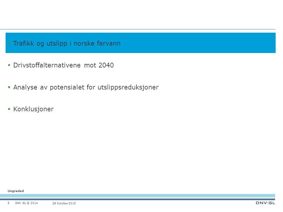 DNV GL © 2014 Ungraded 28 October 2015  Trafikk og utslipp i norske farvann  Drivstoffalternativene mot 2040  Analyse av potensialet for utslippsreduksjoner  Konklusjoner 5