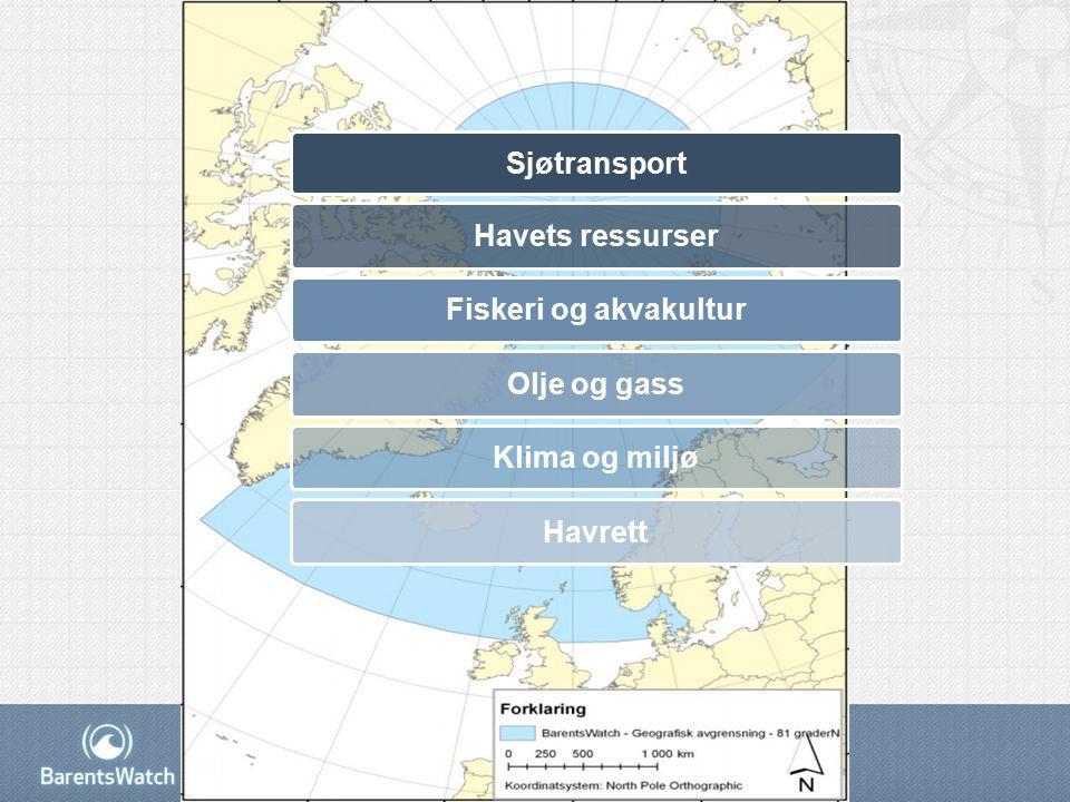 Sjøtransport Havets ressurser Fiskeri og akvakultur Olje og gass Klima og miljø Havrett
