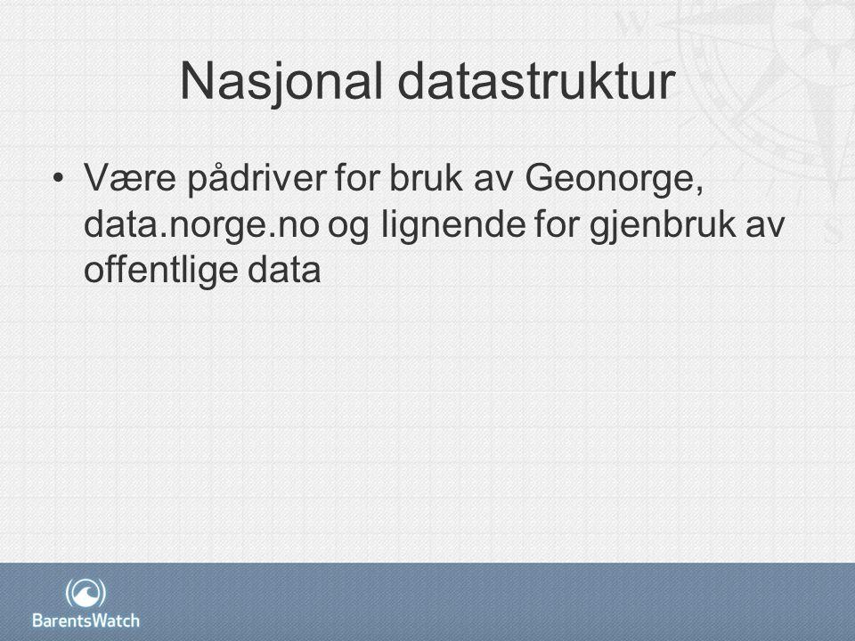 Nasjonal datastruktur Være pådriver for bruk av Geonorge, data.norge.no og lignende for gjenbruk av offentlige data