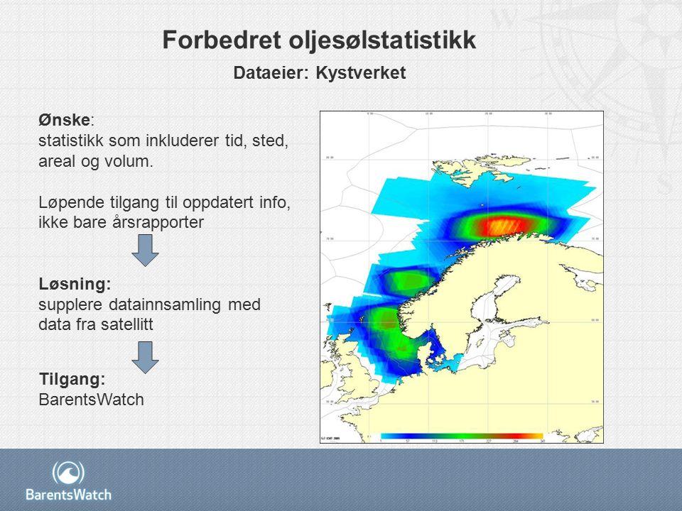 Forbedret oljesølstatistikk Dataeier: Kystverket Ønske: statistikk som inkluderer tid, sted, areal og volum.