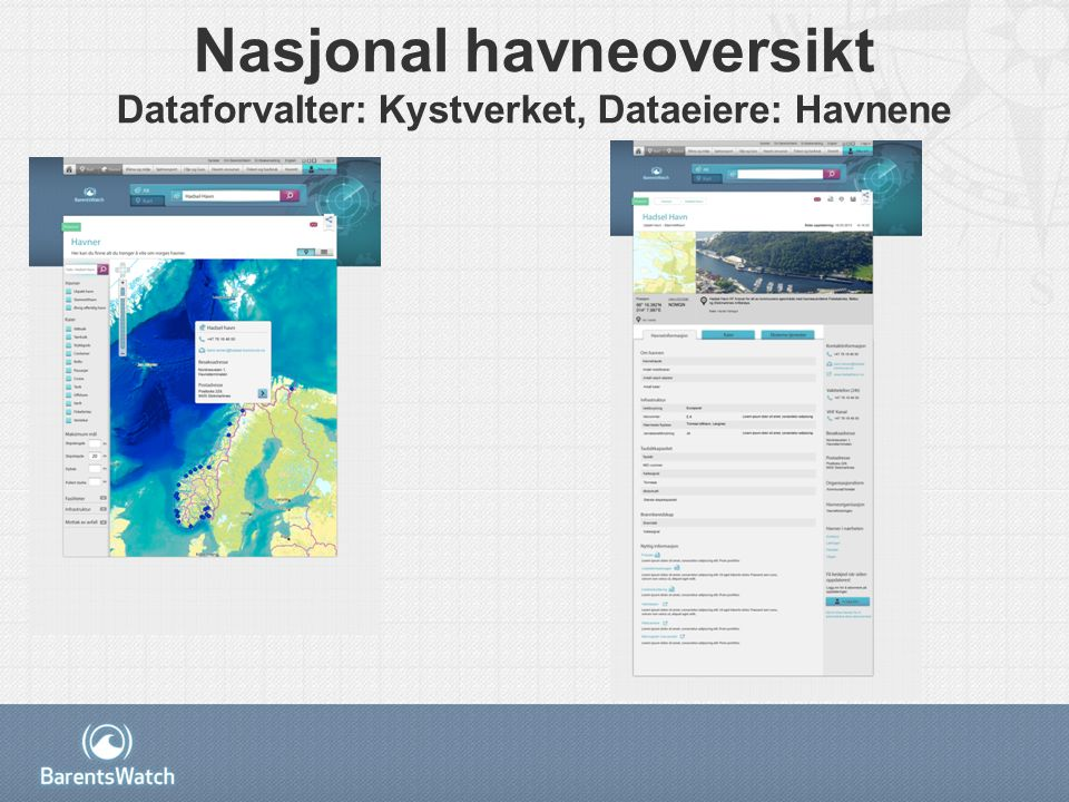 Nasjonal havneoversikt Dataforvalter: Kystverket, Dataeiere: Havnene
