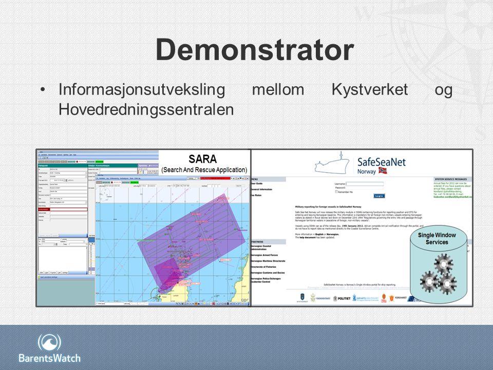 Demonstrator Informasjonsutveksling mellom Kystverket og Hovedredningssentralen