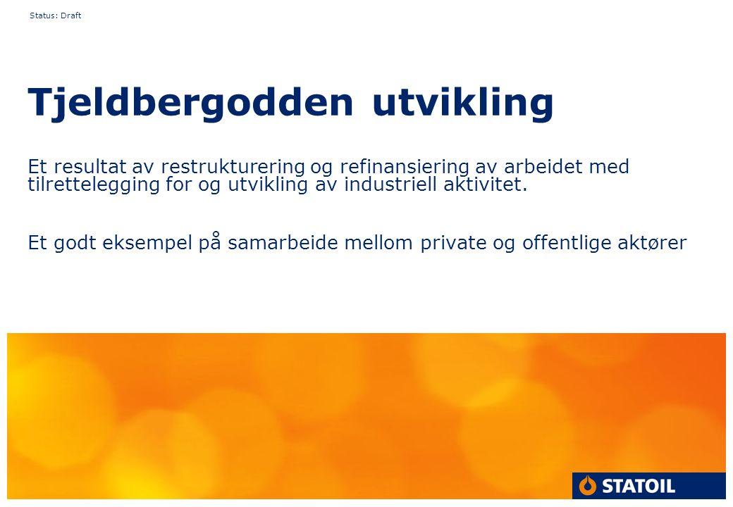Status: Draft Tjeldbergodden utvikling Et resultat av restrukturering og refinansiering av arbeidet med tilrettelegging for og utvikling av industriell aktivitet.