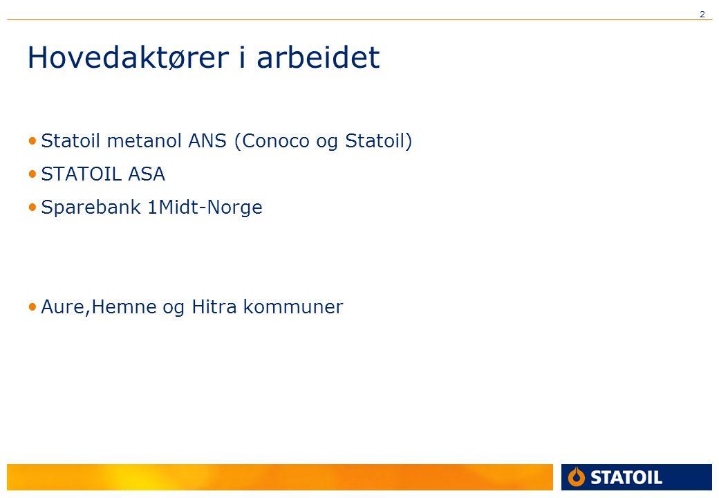 2 Hovedaktører i arbeidet Statoil metanol ANS (Conoco og Statoil) STATOIL ASA Sparebank 1Midt-Norge Aure,Hemne og Hitra kommuner