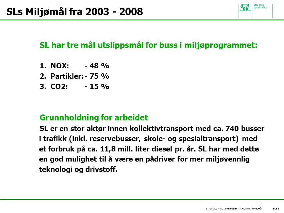 STY301002 – SL - Strategiplan - Ambisjon - hovedmål side 3 SLs Miljømål fra 2003 - 2008 SL har tre mål utslippsmål for buss i miljøprogrammet: 1.