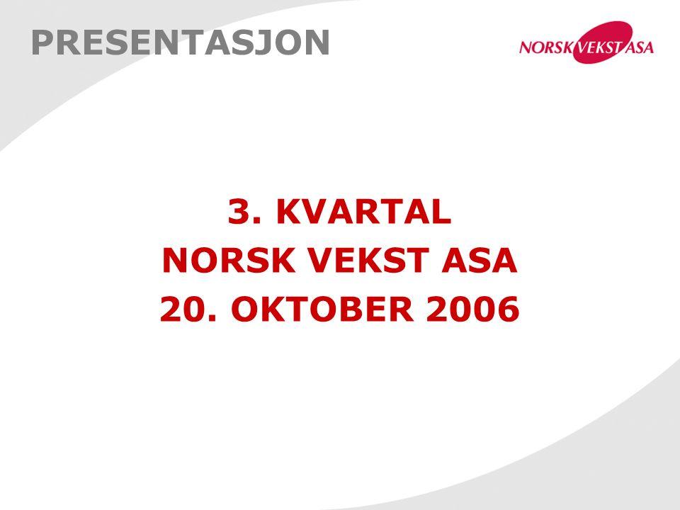 PRESENTASJON 3. KVARTAL NORSK VEKST ASA 20. OKTOBER 2006