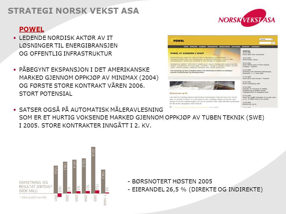 STRATEGI NORSK VEKST ASA POWEL LEDENDE NORDISK AKTØR AV IT LØSNINGER TIL ENERGIBRANSJEN OG OFFENTLIG INFRASTRUKTUR PÅBEGYNT EKSPANSJON I DET AMERIKANSKE MARKED GJENNOM OPPKJØP AV MINIMAX (2004) OG FØRSTE STORE KONTRAKT VÅREN 2006.