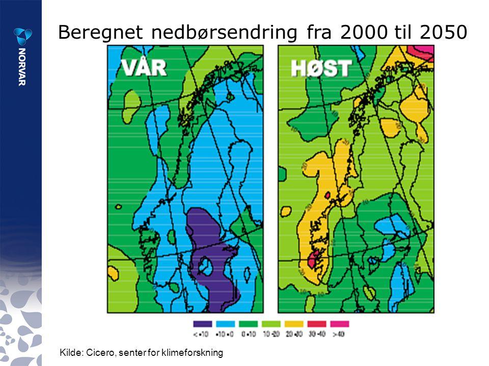 Beregnet nedb ø rsendring fra 2000 til 2050 (%) Kilde: Cicero, senter for klimeforskning